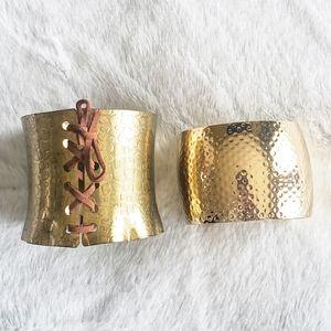 Bronze Gold Cuff Gladiator Bracelets - Set of 2
